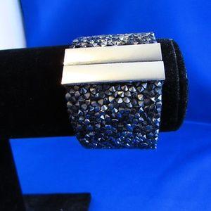Gunmetal gray rough crystal wide cuff bracelet